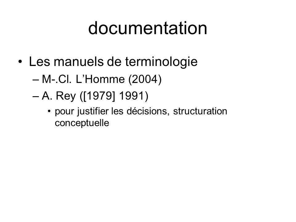 documentation Les manuels de terminologie –M-.Cl. LHomme (2004) –A. Rey ([1979] 1991) pour justifier les décisions, structuration conceptuelle