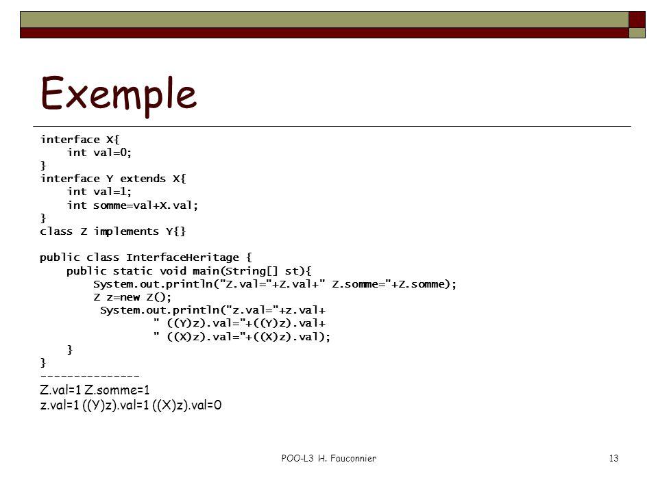 POO-L3 H. Fauconnier13 Exemple interface X{ int val=0; } interface Y extends X{ int val=1; int somme=val+X.val; } class Z implements Y{} public class