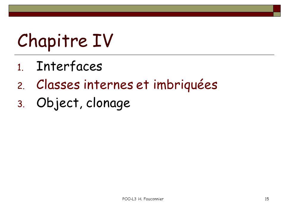 POO-L3 H. Fauconnier15 Chapitre IV 1. Interfaces 2. Classes internes et imbriquées 3. Object, clonage