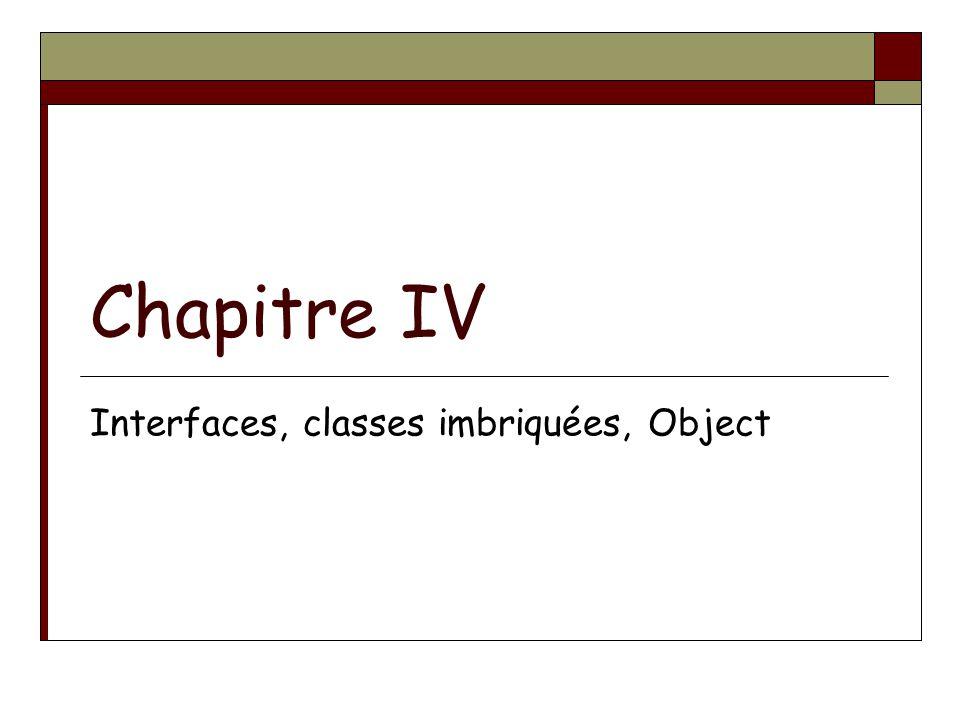 Chapitre IV Interfaces, classes imbriquées, Object