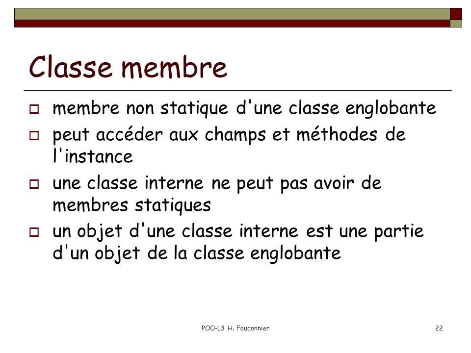 POO-L3 H. Fauconnier22 Classe membre membre non statique d'une classe englobante peut accéder aux champs et méthodes de l'instance une classe interne