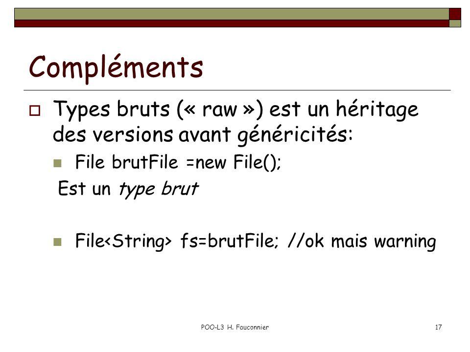 Compléments Types bruts (« raw ») est un héritage des versions avant généricités: File brutFile =new File(); Est un type brut File fs=brutFile; //ok mais warning POO-L3 H.