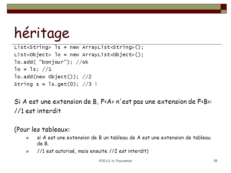 héritage List ls = new ArrayList (); List lo = new ArrayList (); lo.add(