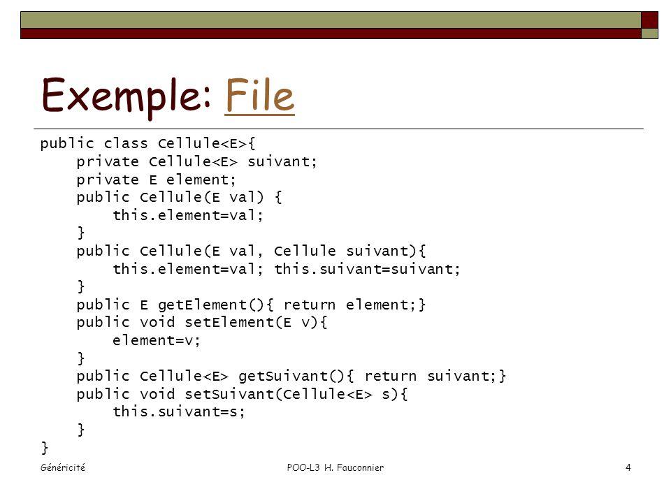 héritage List ls = new ArrayList (); List lo = new ArrayList (); lo.add( bonjour ); //ok lo = ls; //1 lo.add(new Object()); //2 String s = ls.get(0); //3 .