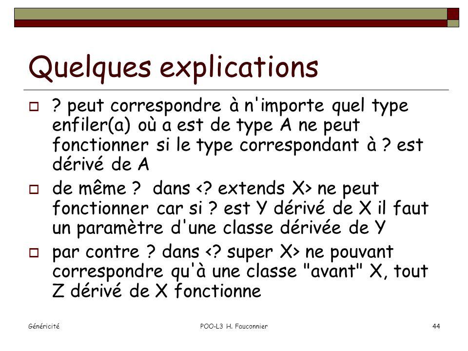 GénéricitéPOO-L3 H. Fauconnier44 Quelques explications .