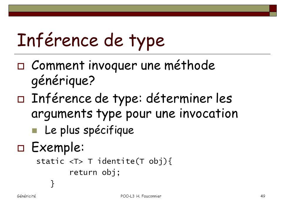 GénéricitéPOO-L3 H. Fauconnier49 Inférence de type Comment invoquer une méthode générique.