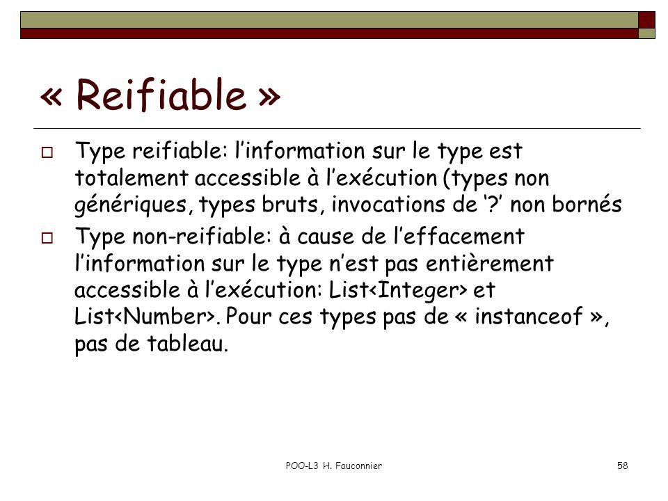 « Reifiable » Type reifiable: linformation sur le type est totalement accessible à lexécution (types non génériques, types bruts, invocations de .
