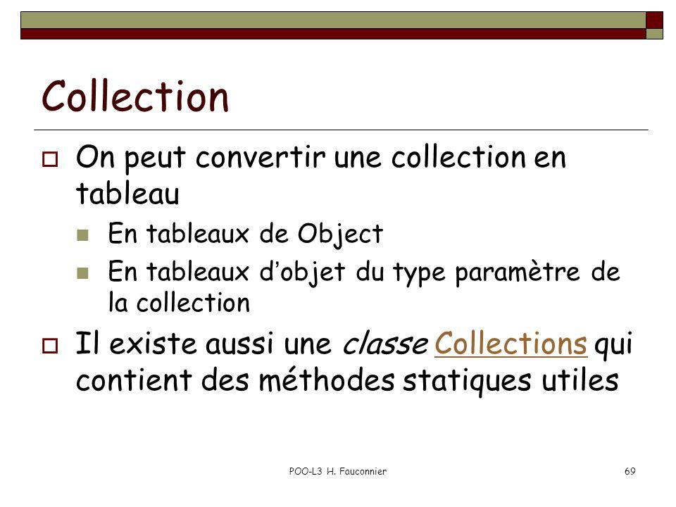 POO-L3 H. Fauconnier69 Collection On peut convertir une collection en tableau En tableaux de Object En tableaux dobjet du type paramètre de la collect