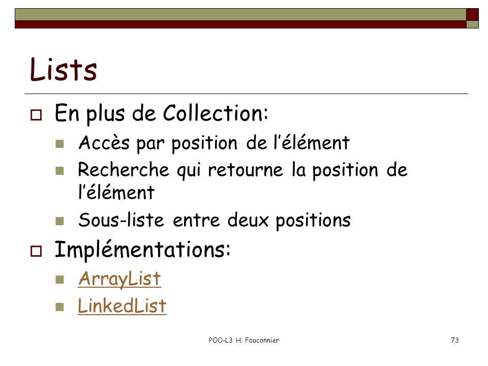 POO-L3 H. Fauconnier73 Lists En plus de Collection: Accès par position de lélément Recherche qui retourne la position de lélément Sous-liste entre deu