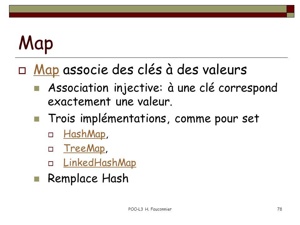 POO-L3 H. Fauconnier78 Map Map associe des clés à des valeurs Map Association injective: à une clé correspond exactement une valeur. Trois implémentat