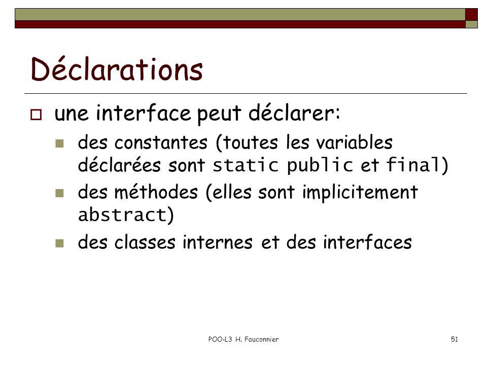 POO-L3 H. Fauconnier51 Déclarations une interface peut déclarer: des constantes (toutes les variables déclarées sont static public et final ) des méth