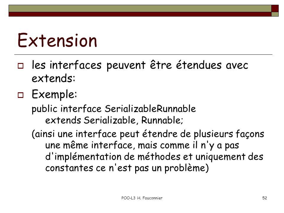 POO-L3 H. Fauconnier52 Extension les interfaces peuvent être étendues avec extends: Exemple: public interface SerializableRunnable extends Serializabl