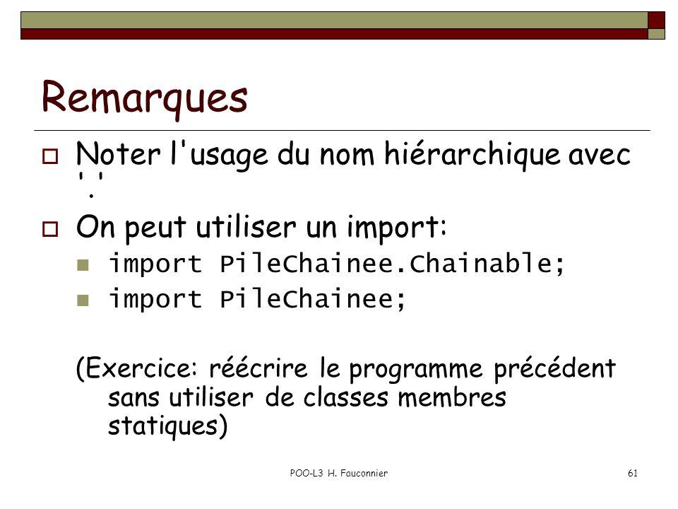POO-L3 H. Fauconnier61 Remarques Noter l'usage du nom hiérarchique avec '.' On peut utiliser un import: import PileChainee.Chainable; import PileChain