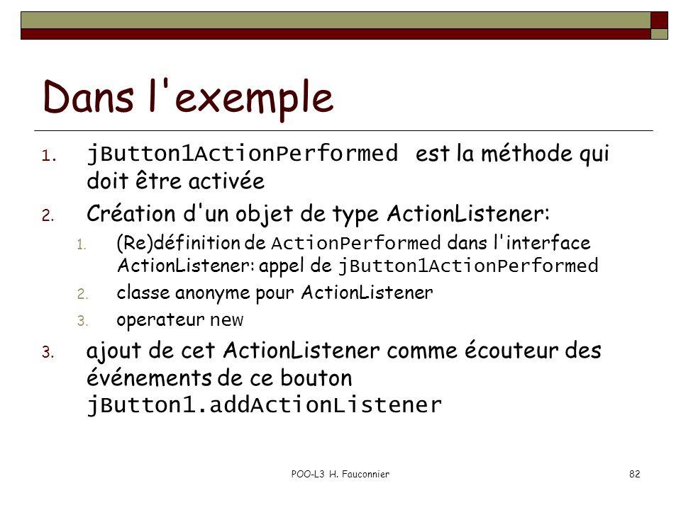 POO-L3 H. Fauconnier82 Dans l'exemple 1. jButton1ActionPerformed est la méthode qui doit être activée 2. Création d'un objet de type ActionListener: 1
