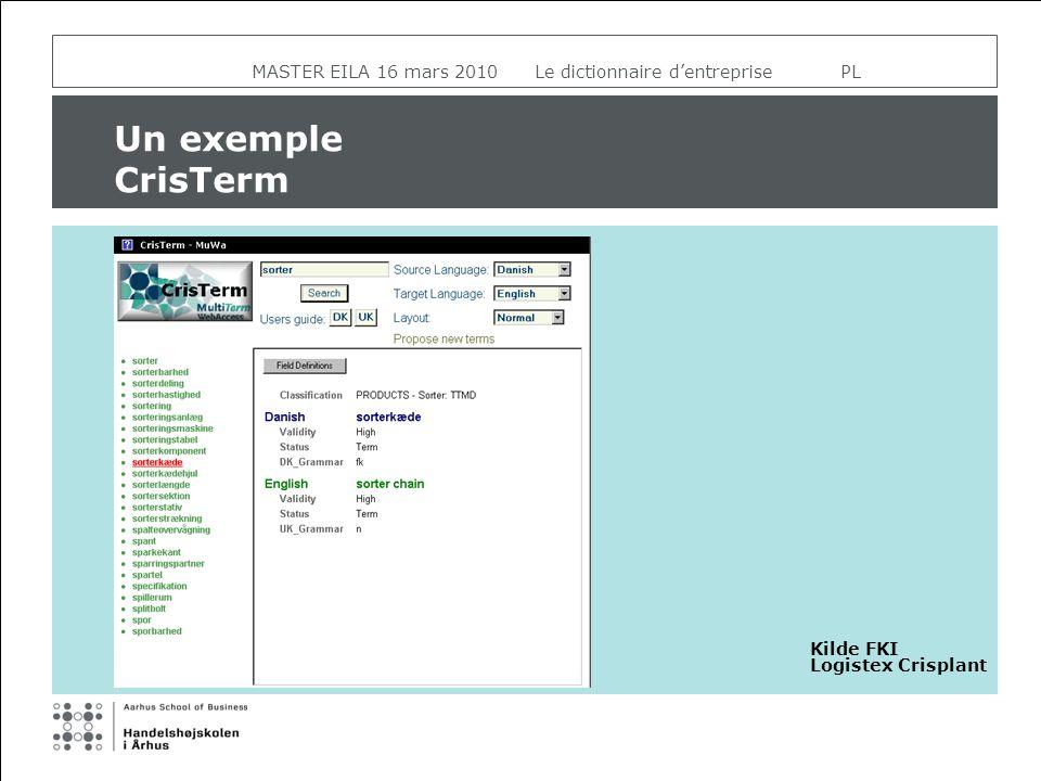 MASTER EILA 16 mars 2010 Le dictionnaire dentreprise PL Un exemple CrisTerm Kilde FKI Logistex Crisplant