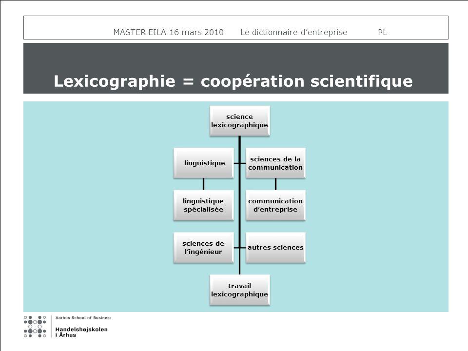 MASTER EILA 16 mars 2010 Le dictionnaire dentreprise PL Lexicographie = coopération scientifique science lexicographique travail lexicographique lingu