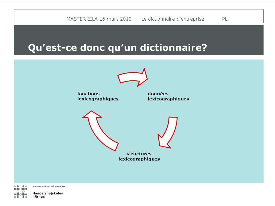 MASTER EILA 16 mars 2010 Le dictionnaire dentreprise PL Quest-ce donc quun dictionnaire? données lexicographiques structures lexicographiques fonction