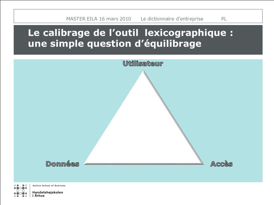 Le calibrage de loutil lexicographique : une simple question déquilibrage MASTER EILA 16 mars 2010 Le dictionnaire dentreprise PL
