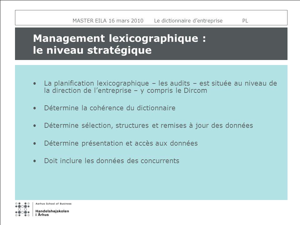 MASTER EILA 16 mars 2010 Le dictionnaire dentreprise PL Management lexicographique : le niveau stratégique La planification lexicographique – les audi