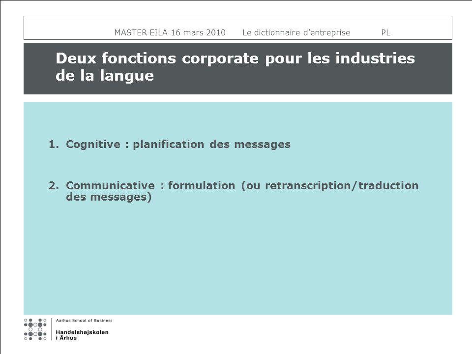 MASTER EILA 16 mars 2010 Le dictionnaire dentreprise PL Deux fonctions corporate pour les industries de la langue 1.Cognitive : planification des mess