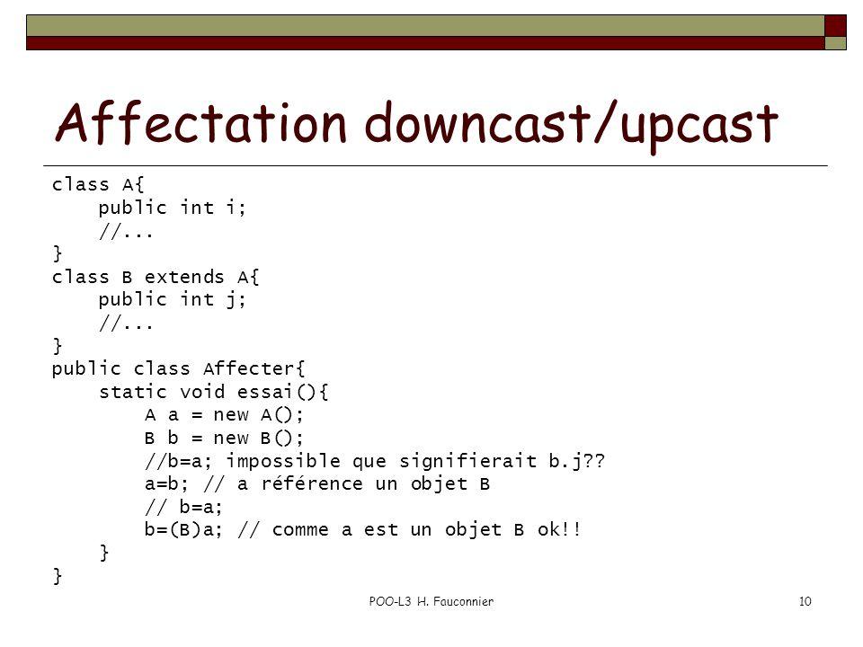 POO-L3 H. Fauconnier10 Affectation downcast/upcast class A{ public int i; //... } class B extends A{ public int j; //... } public class Affecter{ stat