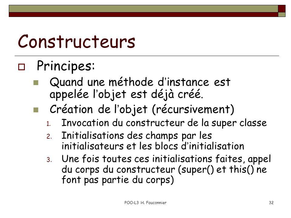 POO-L3 H. Fauconnier32 Constructeurs Principes: Quand une méthode dinstance est appelée lobjet est déjà créé. Création de lobjet (récursivement) 1. In