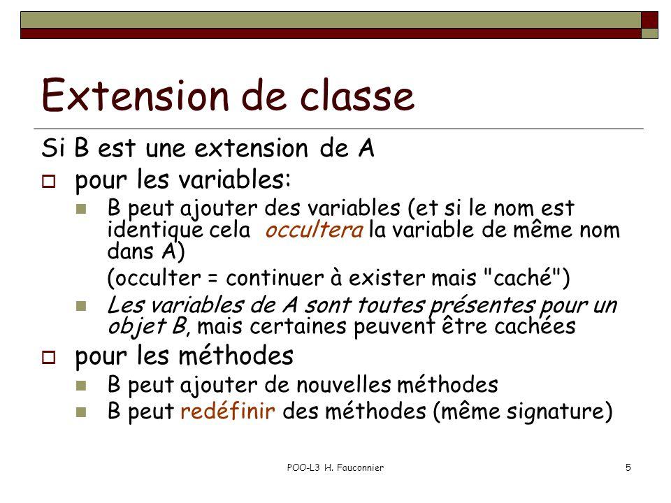 POO-L3 H. Fauconnier5 Extension de classe Si B est une extension de A pour les variables: B peut ajouter des variables (et si le nom est identique cel