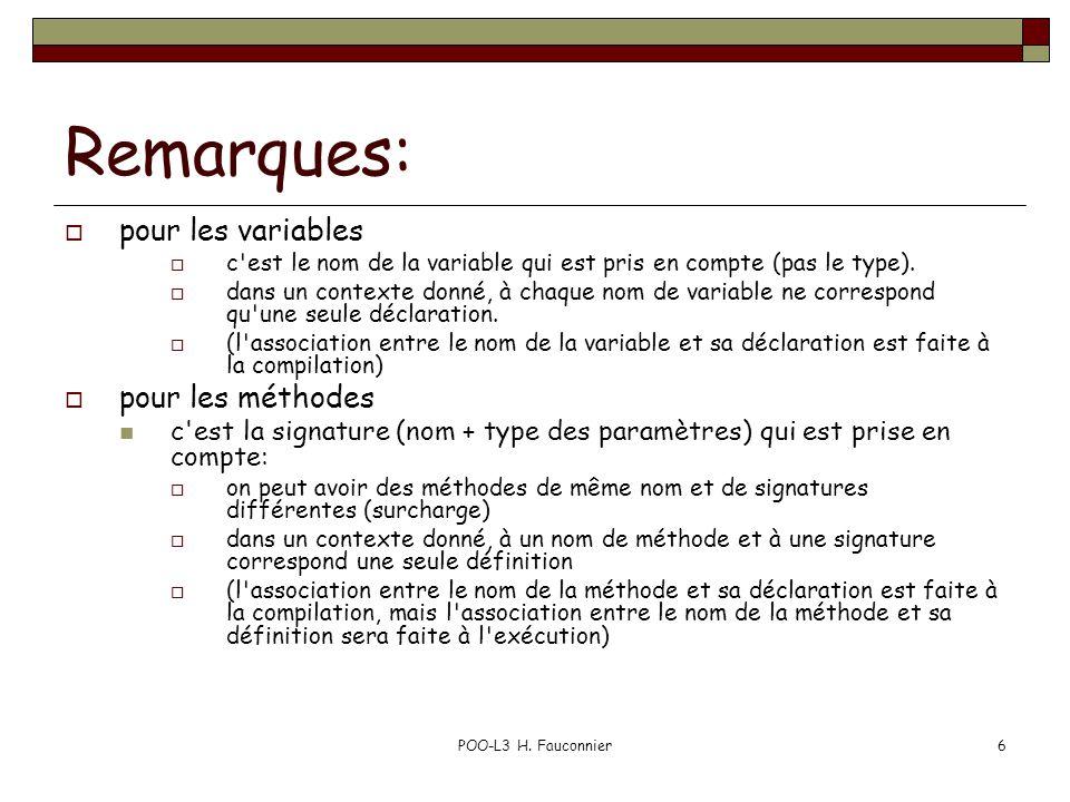 POO-L3 H. Fauconnier6 Remarques: pour les variables c'est le nom de la variable qui est pris en compte (pas le type). dans un contexte donné, à chaque