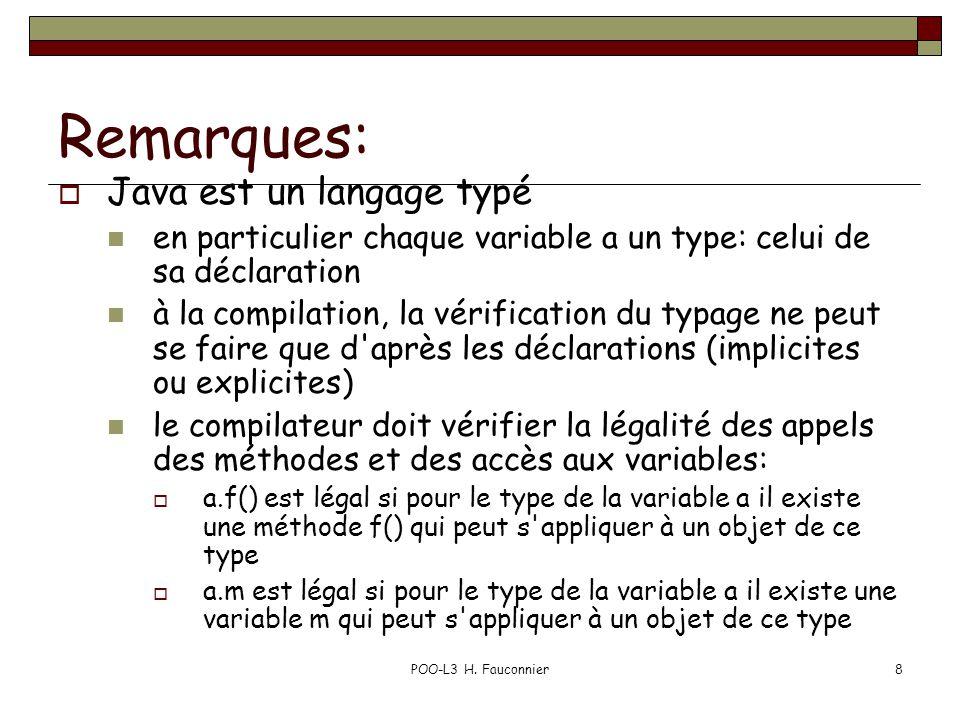 POO-L3 H. Fauconnier8 Remarques: Java est un langage typé en particulier chaque variable a un type: celui de sa déclaration à la compilation, la vérif