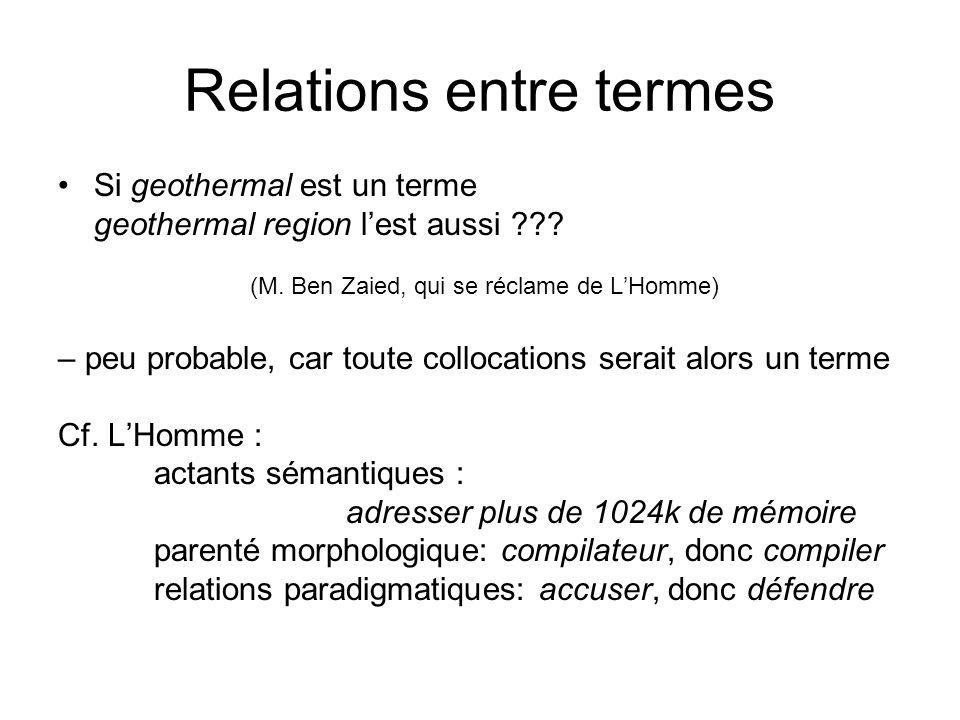 Relations entre termes Si geothermal est un terme geothermal region lest aussi ??? (M. Ben Zaied, qui se réclame de LHomme) – peu probable, car toute