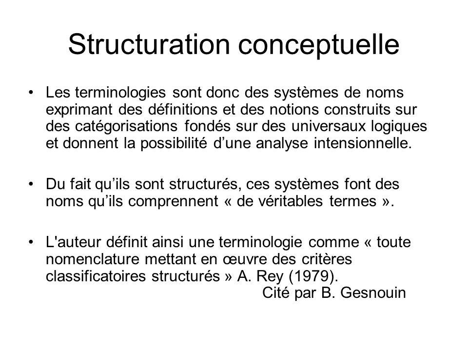 Structuration conceptuelle Les terminologies sont donc des systèmes de noms exprimant des définitions et des notions construits sur des catégorisation