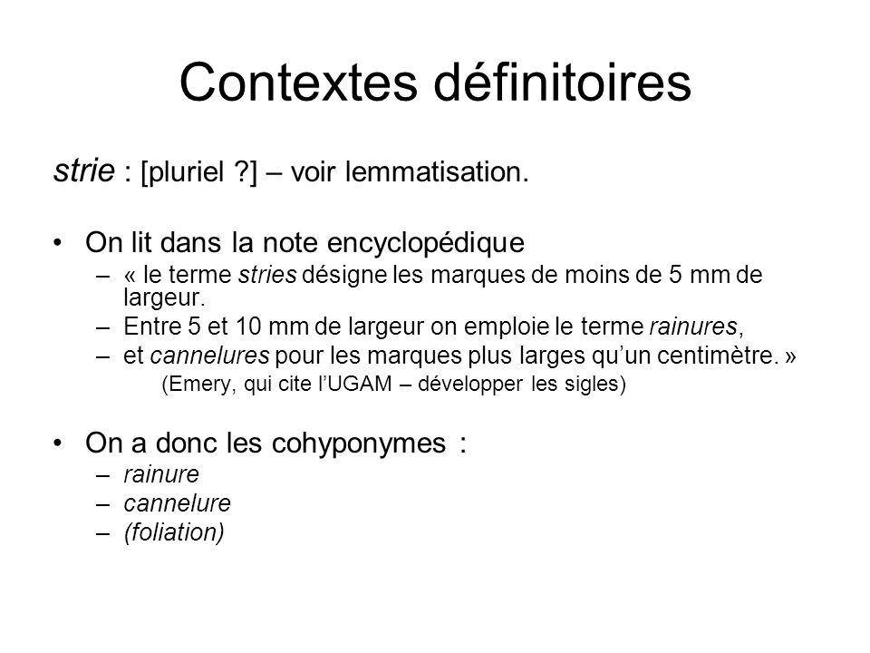 Contextes définitoires strie : [pluriel ?] – voir lemmatisation. On lit dans la note encyclopédique –« le terme stries désigne les marques de moins de