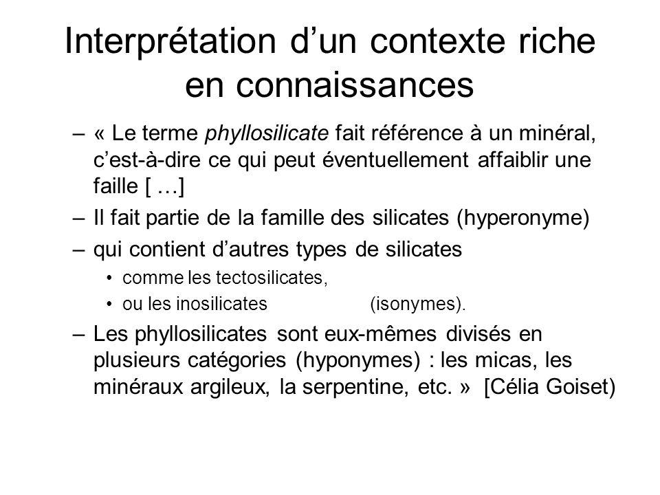 Interprétation dun contexte riche en connaissances –« Le terme phyllosilicate fait référence à un minéral, cest-à-dire ce qui peut éventuellement affa