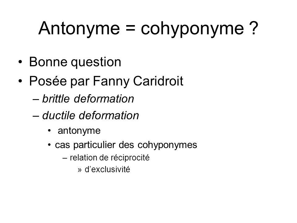 Antonyme = cohyponyme ? Bonne question Posée par Fanny Caridroit –brittle deformation –ductile deformation antonyme cas particulier des cohyponymes –r