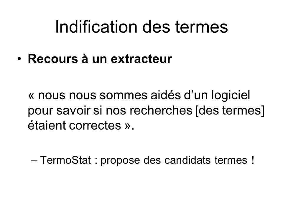 Indification des termes Recours à un extracteur « nous nous sommes aidés dun logiciel pour savoir si nos recherches [des termes] étaient correctes ».