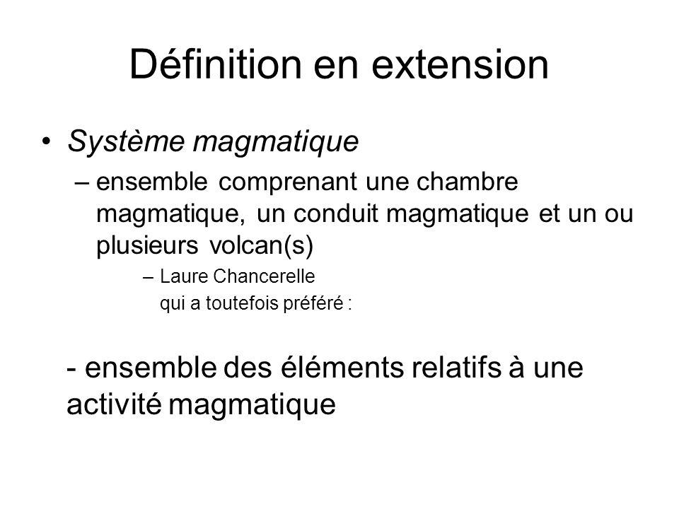 Définition en extension Système magmatique –ensemble comprenant une chambre magmatique, un conduit magmatique et un ou plusieurs volcan(s) –Laure Chan