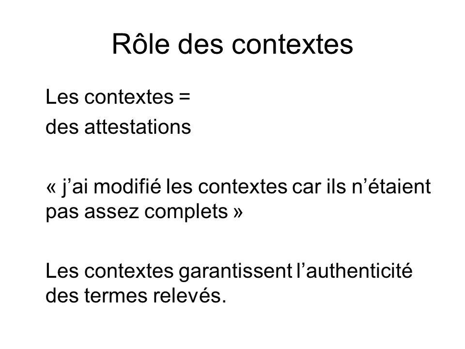 Rôle des contextes Les contextes = des attestations « jai modifié les contextes car ils nétaient pas assez complets » Les contextes garantissent lauth