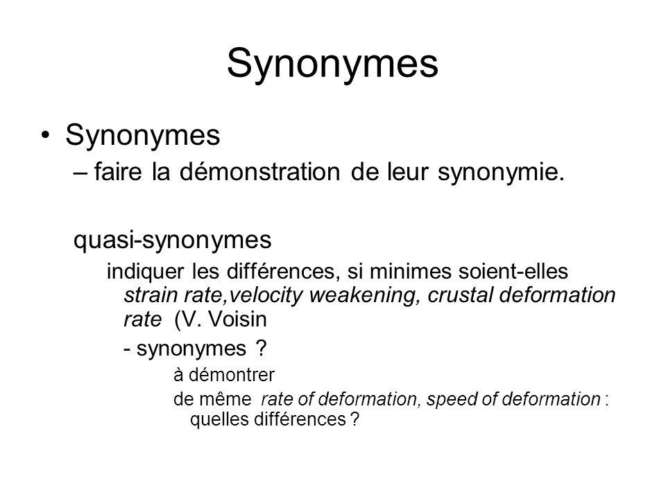 Synonymes –faire la démonstration de leur synonymie. quasi-synonymes indiquer les différences, si minimes soient-elles strain rate,velocity weakening,