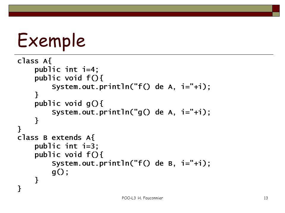 POO-L3 H. Fauconnier13 Exemple class A{ public int i=4; public void f(){ System.out.println(