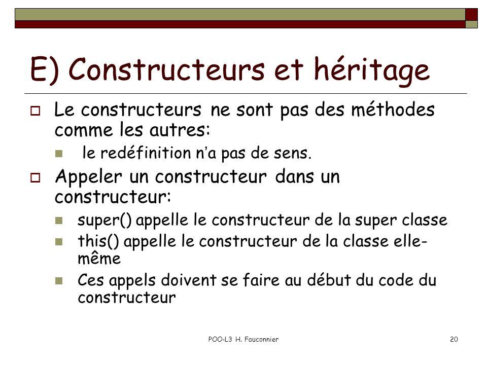 POO-L3 H. Fauconnier20 E) Constructeurs et héritage Le constructeurs ne sont pas des méthodes comme les autres: le redéfinition na pas de sens. Appele