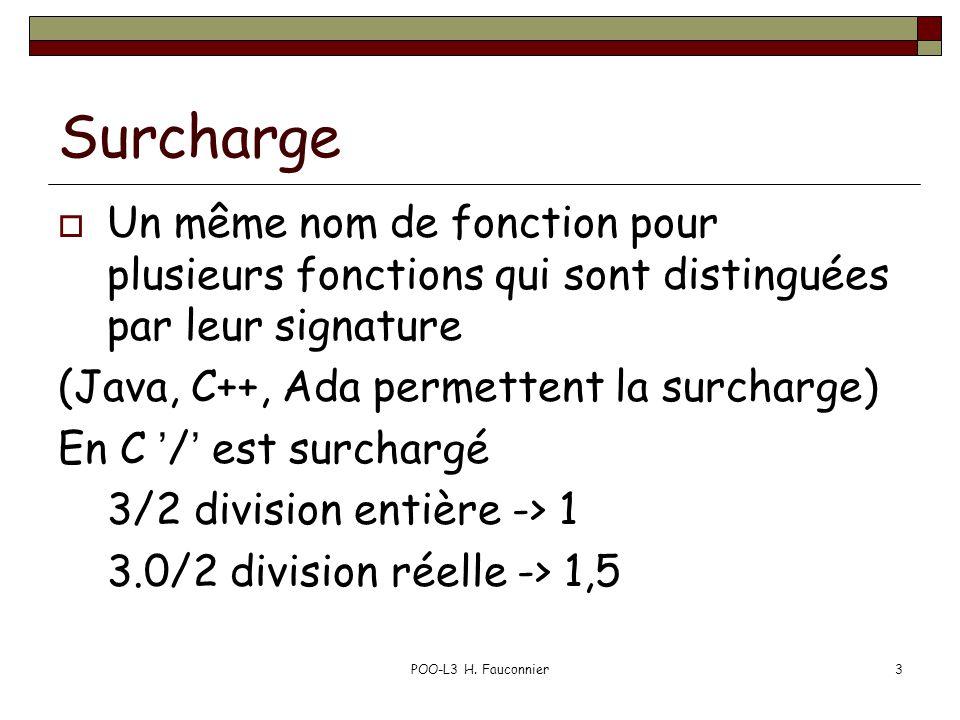 POO-L3 H. Fauconnier3 Surcharge Un même nom de fonction pour plusieurs fonctions qui sont distinguées par leur signature (Java, C++, Ada permettent la