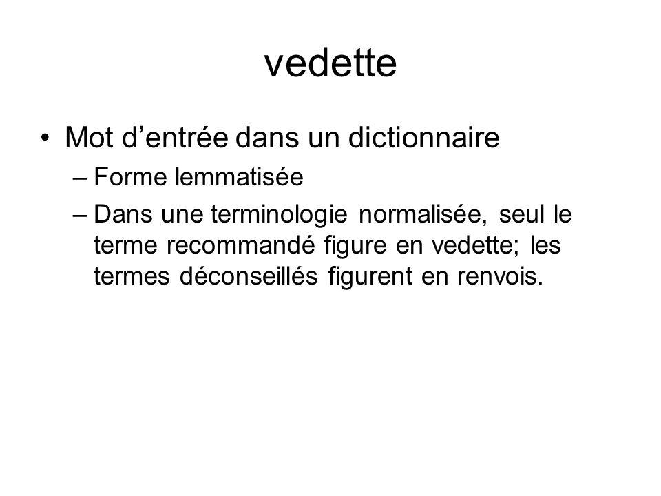 vedette Mot dentrée dans un dictionnaire –Forme lemmatisée –Dans une terminologie normalisée, seul le terme recommandé figure en vedette; les termes déconseillés figurent en renvois.