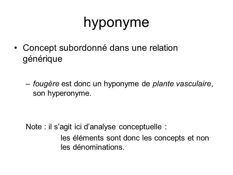 hyponyme Concept subordonné dans une relation générique –fougère est donc un hyponyme de plante vasculaire, son hyperonyme.