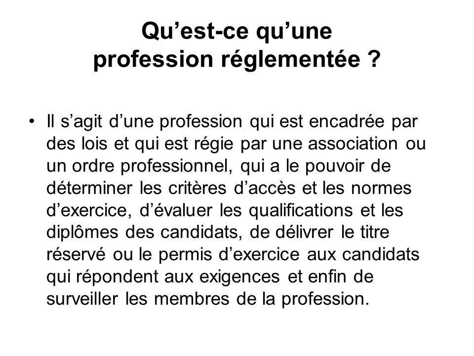 Quest-ce quune profession réglementée .