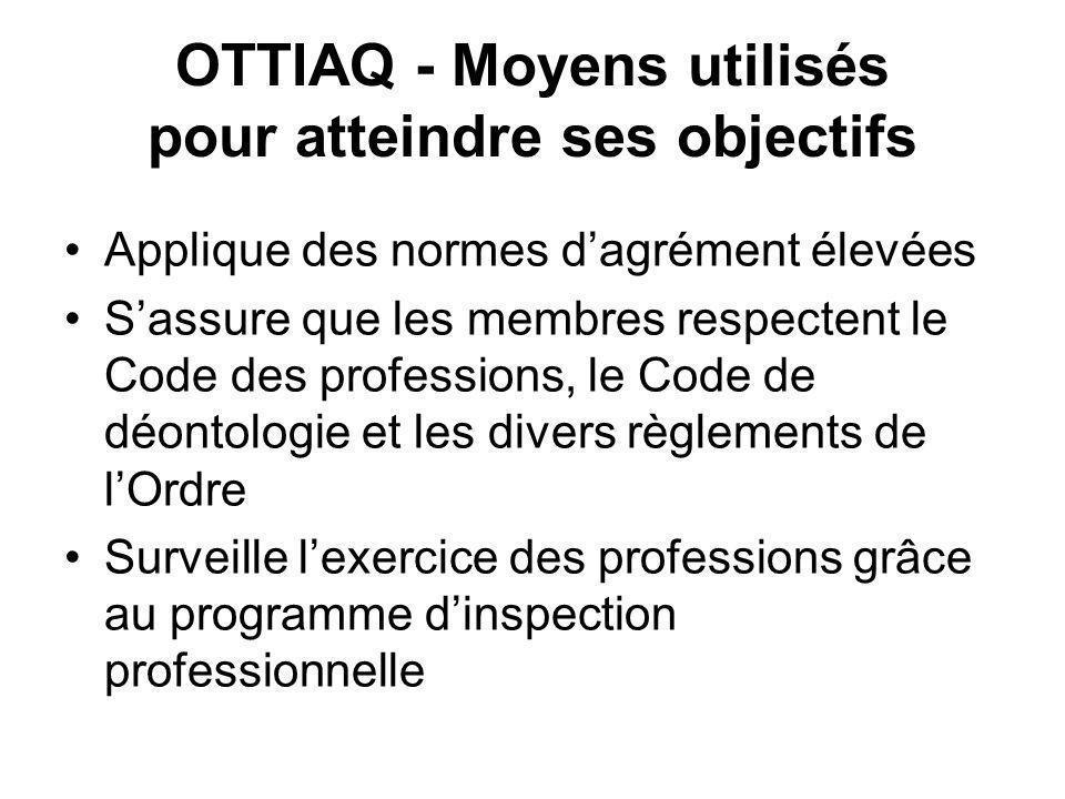 OTTIAQ - Moyens utilisés pour atteindre ses objectifs Applique des normes dagrément élevées Sassure que les membres respectent le Code des professions, le Code de déontologie et les divers règlements de lOrdre Surveille lexercice des professions grâce au programme dinspection professionnelle