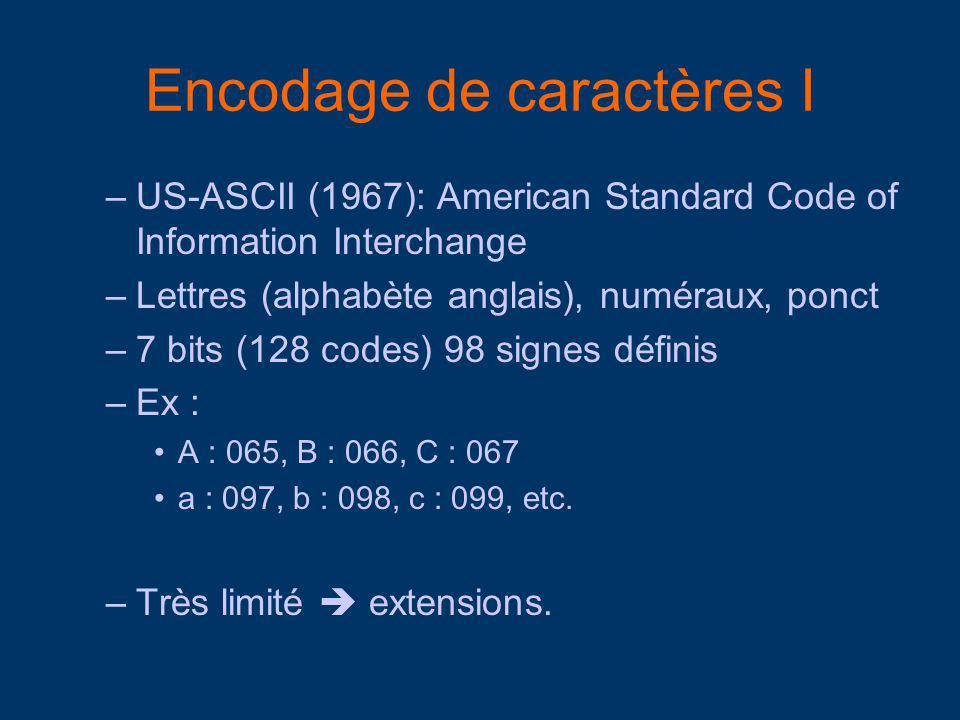 Encodage de caractères I –US-ASCII (1967): American Standard Code of Information Interchange –Lettres (alphabète anglais), numéraux, ponct –7 bits (128 codes) 98 signes définis –Ex : A : 065, B : 066, C : 067 a : 097, b : 098, c : 099, etc.