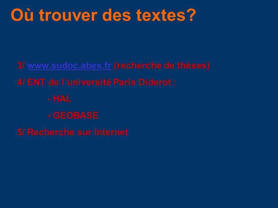 Où trouver des textes? 3/ www.sudoc.abes.fr (recherche de thèses)www.sudoc.abes.fr 4/ ENT de luniversité Paris Diderot : - HAL - GEOBASE 5/ Recherche