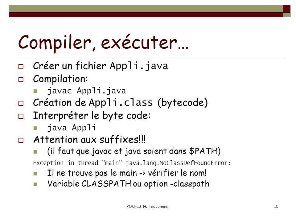 POO-L3 H. Fauconnier10 Compiler, exécuter… Créer un fichier Appli.java Compilation: javac Appli.java Création de Appli.class (bytecode) Interpréter le
