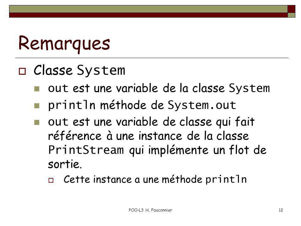POO-L3 H. Fauconnier12 Remarques Classe System out est une variable de la classe System printl n méthode de System.out out est une variable de classe