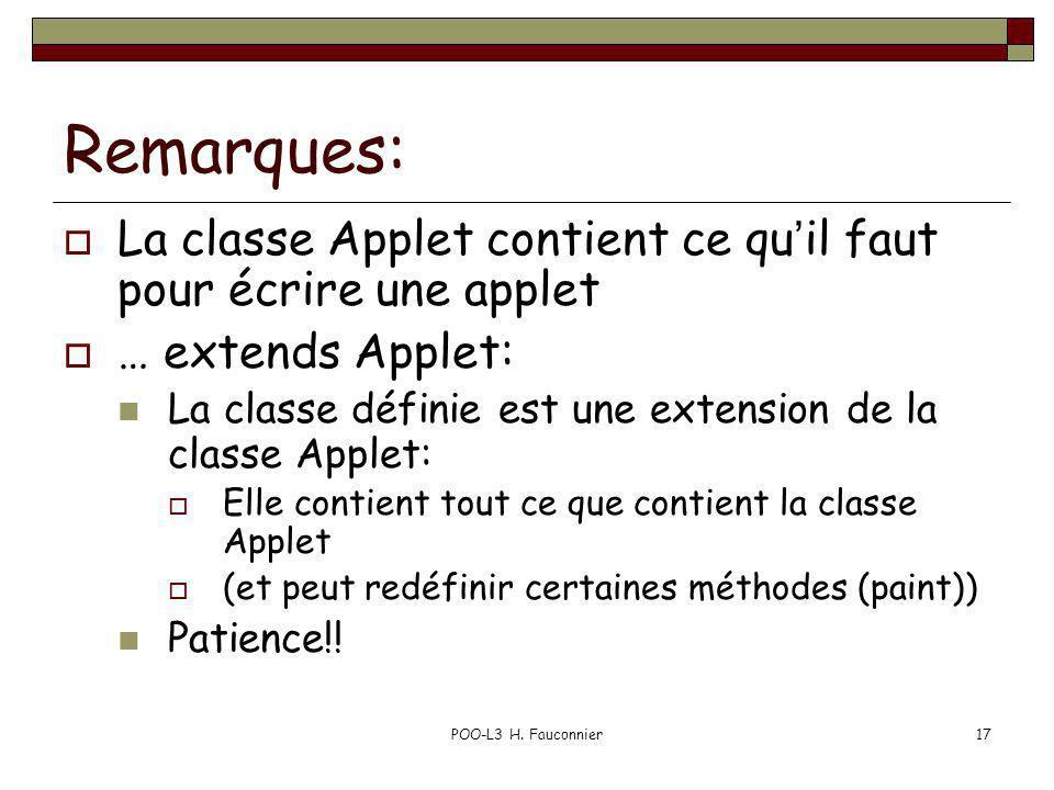 POO-L3 H. Fauconnier17 Remarques: La classe Applet contient ce quil faut pour écrire une applet … extends Applet: La classe définie est une extension
